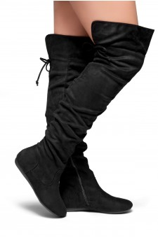 HerStyle Lauurren Faux Suede Thigh High Boots - black