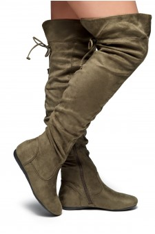 HerStyle Lauurren Faux Suede Thigh High Boots - olive