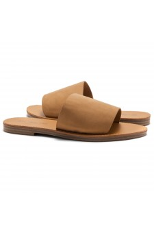 HerStyle Leanna- Lightweight Flat Easy Slide-On Sandals (Tan)