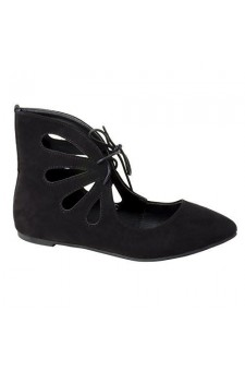 Women's Black Manmade Lecrew Flat Ankle Boot with Fashionable Cut-out Vamp