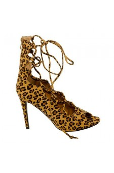 Women's Leopard Manmade Leennaa Stunning 4.5-inch Heeled Boots with Lace-up Vamp