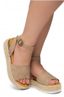 Shoe Land Legossa-Women's Open Toe Ankle Strap Platform Wedge Shoes Casual Espadrilles Trim Flatform Studded Wedge Sandals (1825/Khaki)