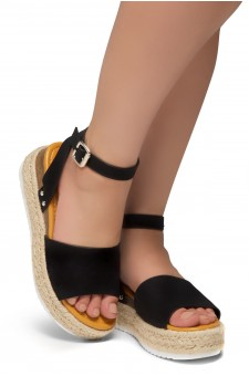 Shoe Land Legossa-Women's Open Toe Ankle Strap Platform Wedge Shoes Casual Espadrilles Trim Flatform Studded Wedge Sandals (1825/BLK)