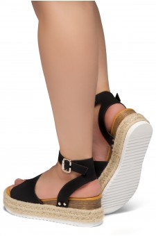Shoe Land Legossa-Women's Open Toe Ankle Strap Platform Wedge Shoes Casual Espadrilles Trim Flatform Studded Wedge Sandals (1825/BLK)