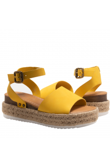 Shoe Land Legossa-Women's Open Toe Ankle Strap Platform Wedge Shoes Casual Espadrilles Trim Flatform Studded Wedge Sandals (1825/Yellow)
