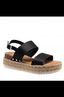 Shoe Land Legossa-Women's Open Toe Ankle Strap Platform Wedge Shoes Casual Espadrilles Trim Flatform Studded Wedge Sandals (1901/Black)