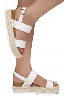 Shoe Land Legossa-Women's Open Toe Ankle Strap Platform Wedge Shoes Casual Espadrilles Trim Flatform Studded Wedge Sandals (1901/White)