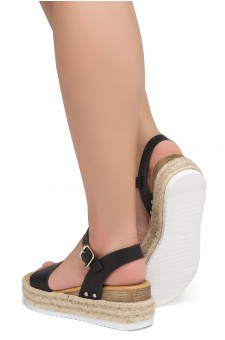 Shoe Land Legossa-Women's Open Toe Ankle Strap Platform Wedge Shoes Casual Espadrilles Trim Flatform Studded Wedge Sandals (Black)