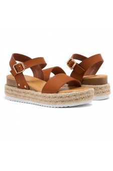Shoe Land Legossa-Women's Open Toe Ankle Strap Platform Wedge Shoes Casual Espadrilles Trim Flatform Studded Wedge Sandals (Cognac)