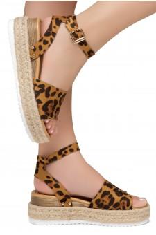Shoe Land Legossa-Women's Open Toe Ankle Strap Platform Wedge Shoes Casual Espadrilles Trim Flatform Studded Wedge Sandals (Leopard)