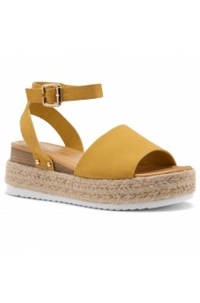 Shoe Land Legossa-Women's Open Toe Ankle Strap Platform Wedge Shoes Casual Espadrilles Trim Flatform Studded Wedge Sandals (Mustard)
