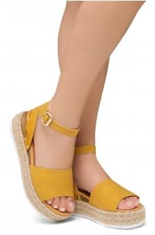 Shoe Land Legossa-Women's Open Toe Ankle Strap Platform Wedge Shoes Casual Espadrilles Trim Flatform Studded Wedge Sandals (Mustard)