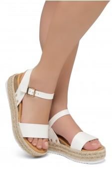 Shoe Land Legossa-Women's Open Toe Ankle Strap Platform Wedge Shoes Casual Espadrilles Trim Flatform Studded Wedge Sandals (White)