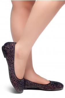 HerStyle LIKE A BOSS-Round Toe, Glitter Details, Ballet Flat (Black)