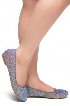 HerStyle LIKE A BOSS-Round Toe, Glitter Details, Ballet Flat (Blue)