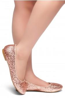 HerStyle LIKE A BOSS-Round Toe, Glitter Details, Ballet Flat (RoseGold Glitter)