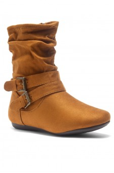 Women's Cognac Lindell Women's Fashion Calf Flat Heel Side Zipper, double Buckle straps, Slouch Ankle Boots-- [Runs Small, Order One Size Bigger]