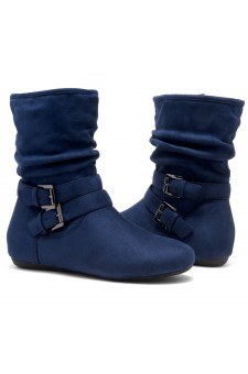 Women's Navy Lindell Women's Fashion Calf Flat Heel Side Zipper, double Buckle straps, Slouch Ankle Boots-- [Runs Small, Order One Size Bigger]