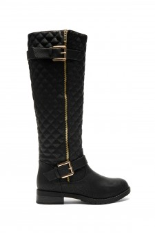 Women's Black Lorreenn-Hi Women's Quilted, Zipper, Double Buckles Accent, Lug sole,Riding Knee-hi Boots