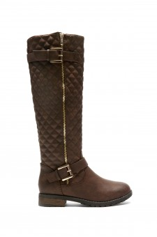 Women's Brown Lorreenn-Hi Women's Quilted, Zipper, Double Buckles Accent, Lug sole,Riding Knee-hi Boots