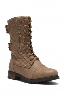 HerStyle Lorreenn Military Lace up, Quilted, Zipper, Double Buckled, Middle Calf Combat Boots (Stone)