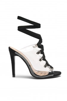 HerStyle Louisa stiletto heel, front lace-up, Lucite details (Clear Black)