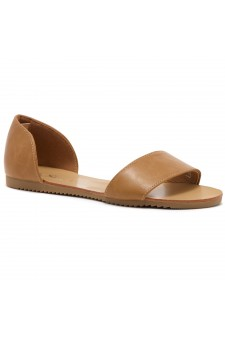 HerStyle Women's Manmade Louissia Flat Sandal with Animal Print Strap (Camel)