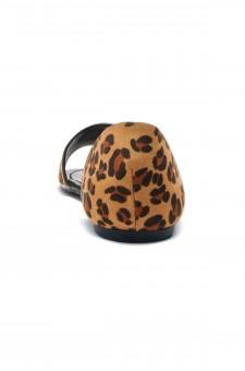 Women's Leopard Manmade Louissia Flat Sandal with Animal Print Strap