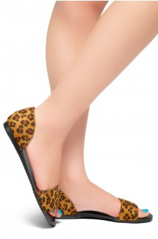Women's Leopard Manmade Louissia Flat Sandal with Animal Print Strap