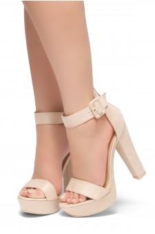 HerStyle LOVE LIKE WHOA-Open Toe Ankle Strap Chunky Platform Heel (Nude)