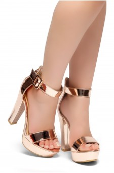 HerStyle LOVE LIKE WHOA-Open Toe Ankle Strap Chunky Platform Heel (RoseGold)