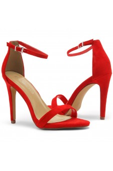 Shoe Land Lovering- Ankle Strap Open Toe Back Closure Stiletto Heel (Red)