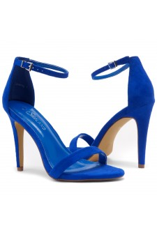 Shoe Land Lovering- Ankle Strap Open Toe Back Closure Stiletto Heel (Royalblue)