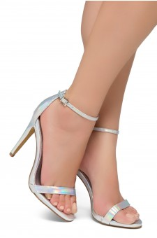 Shoe Land Lovering- Ankle Strap Open Toe Back Closure Stiletto Heel (Silver)