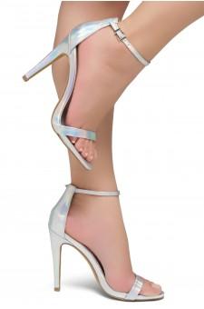 Shoe Land Lovering- Ankle Strap Open Toe Back Closure Stiletto Heel (Silver)