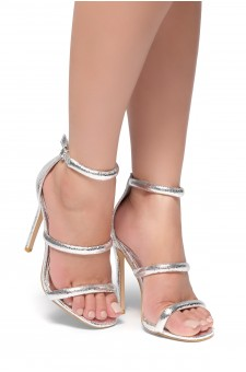 HerStyle Lucid- Ankle Rounded Strap, Open Toe, Stiletto Heel  (Silver)