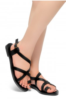 HerStyle Lulla-Toe Ring Sandal with Unique Crisscross Straps (Black)