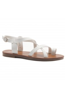 HerStyle Lulla-Toe Ring Sandal with Unique Crisscross Straps (White)