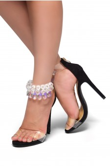 HerStyle Madalene Jewel Gem Embellished Perspex Heel  Faux Leather(Black)