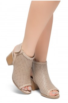 HerStyle Maddie-Block heel, Sex Peep Toe Open Back Booties (Beige)
