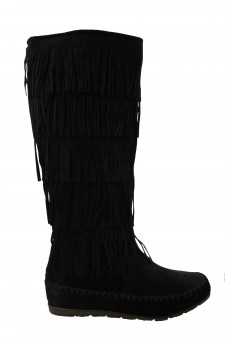 Women's Black Maddyyee Faux Suede Knee High Fringed five-layer Moccasin Boots