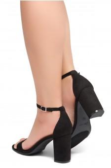 Shoe Land Madeline-Womens Open Toe Ankle Strap Chunky Block Low Heel Dress Sandals (Black)