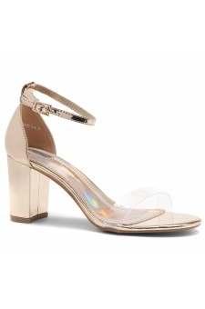 Shoe Land Madeline-Womens Open Toe Ankle Strap Chunky Block Low Heel Dress Sandals (ClearRoseGold)