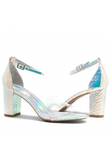 Shoe Land Madeline-Womens Open Toe Ankle Strap Chunky Block Low Heel Dress Sandals (ClearSilver)
