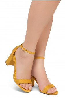 Shoe Land Madeline-Womens Open Toe Ankle Strap Chunky Block Low Heel Dress Sandals (Mustard)