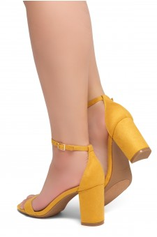 Shoe Land Madeline-Womens Open Toe Ankle Strap Chunky Block Low Heel Dress Sandals (Mustard)