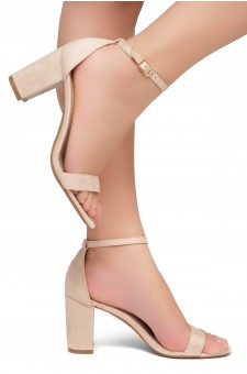 Shoe Land Madeline-Womens Open Toe Ankle Strap Chunky Block Low Heel Dress Sandals (Nude)