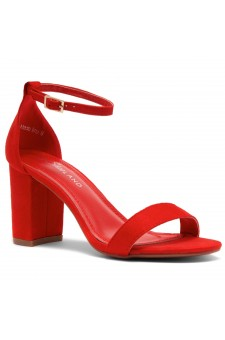 Shoe Land Madeline-Womens Open Toe Ankle Strap Chunky Block Low Heel Dress Sandals (Red)