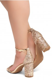 Shoe Land Madeline-Womens Open Toe Ankle Strap Chunky Block Low Heel Dress Sandals (RoseGoldGlitter)