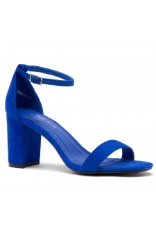 Shoe Land Madeline-Womens Open Toe Ankle Strap Chunky Block Low Heel Dress Sandals (RoyalBlue)